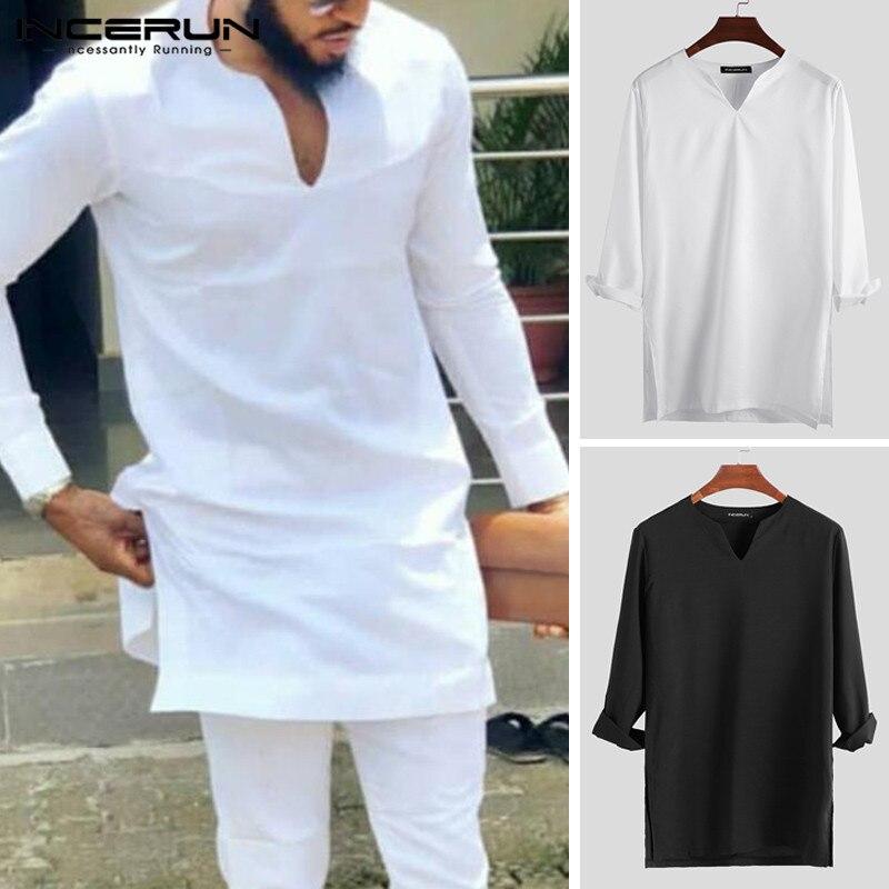 >INCERUN Retro Men Long T Shirt Solid Color V <font><b>Neck</b></font> <font><b>Streetwear</b></font> Long Sleeve Camiseta Casual T-shirts Indian Men Clothes 2019 S-5XL