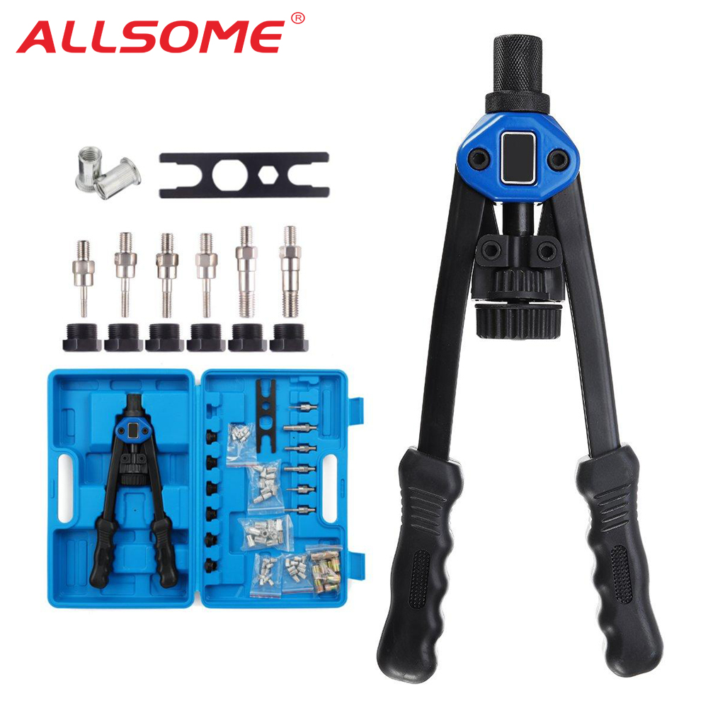 ALLSOME Blind Rivet Nut Gun Heavy Hand Inser Nut Tool Manual Mandrels M3 M4 M5 M6 M8 M10 M12 With Luxury Box Rivnut Gun