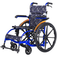 Wheelchair 22 Inch Solid Tire Fashion Delicate Blue Folding Portable Lightweight Aluminum Alloy Wheelchairs For Disabled