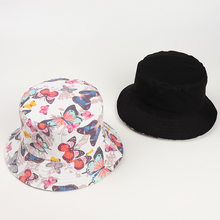 Bucket Hat Korean Double Sided Fisherman Hats Butterfly Cartoon K Pop Basin Hip Hop Hat Cap Women Outdoor Bonnet Ponytail Beanie(China)