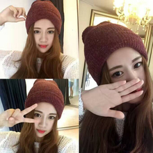 Fashion Simple Rabbit Fur Beanie Hat for Women Winter Curling Knit  Lady Windproof Warm Hair Hats Holiday Gift