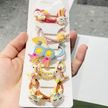 1 conjunto de animais unicórnio acessórios para o cabelo crianças bandas de borracha scrunchies elástico bandas de cabelo meninas bandana decorações laços goma