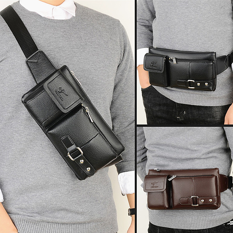 Brand Leather Men Waist Packs Travel Chest Bag Unisex Belt Bag Men Money Belt Waist Bag Bum Bag Fanny Pack For Women