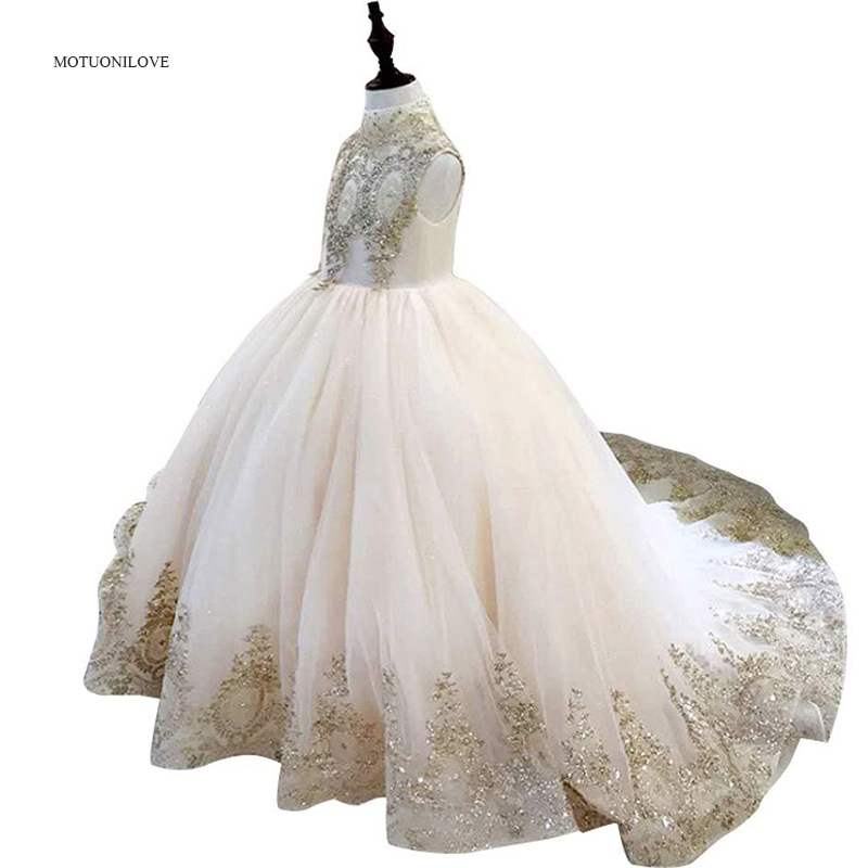 High Collar Gold Sequins Appliqued Holy Communion Dresses BlingBling Baby Girls Wedding Clothes Bridesmaid Kids Pageant Dresses