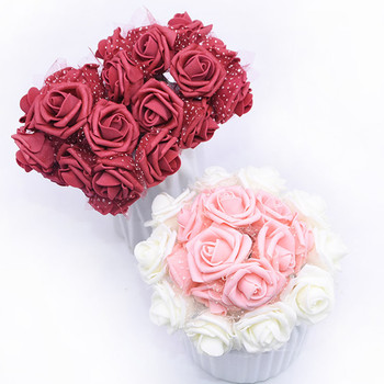 30pcs 4cm Artificial Foam Flowers Rose Flower Bouquet For Wedding Bride Bouquet Birthday Gift Diy Wreath Home Decor Fake Flowers Leather Bag