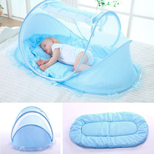 цена на Baby Bed Portable Folding Travel Crib Bed Canopy Mosquito Net Tent With Pillow