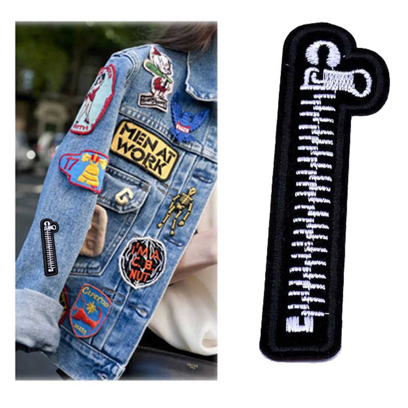 1PCS New Embroidery Sewing Zipper Patches Iron On Clothes Sticker Fabric Garment Applique Jeans Backpack Badge DIY Patches