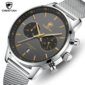 CHEETAH Men Watch Top Brand Luxury,Fashion Sport Watches,Mens Stainless Steel Waterproof Business Wristwatch,Relogio Masculino 2019 megir masculino watches men fashion sport stainless steel case leather band watch quartz business wristwatch reloj hombre
