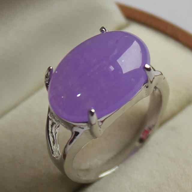Nice เครื่องประดับ lady's สีม่วงสวยงามหยกแหวนเงิน 7/8/9 #