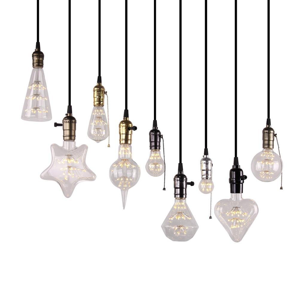 2pcs/lot Led Bulb Star Fireworks E27 Vintage Edison Night Light 220V A60 ST64 G80 G95 G125 Holiday Novelty Decoration Lighting