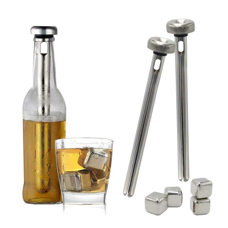 مبرد بيرة عصا و كتلة الجليد الفولاذ المقاوم للصدأ Beer النبيذ المشروبات المياه التبريد ، 2 العصي و 4 آيس كيوب