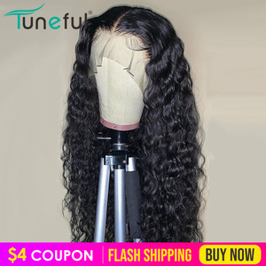 Water Wave Lace Front Human Hair Wigs 13x4 Lace Frontal Wig 150% Pre Plucked Tuneful Malaysian Remy Hair Lace Wigs For Women(China)