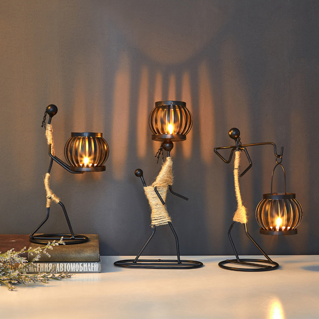 Vintage Candle Holders Home Decoration Metal People Model Candelabros Decorative Creative Candlestick Party Wedding Centerpieces 1