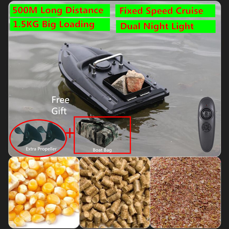 Intelligent Upgraded Double Motors Radio Remote Control Fish Finder RC Bait Boat 500M One Key Fixed Speed Cruise RC Fishing Boat