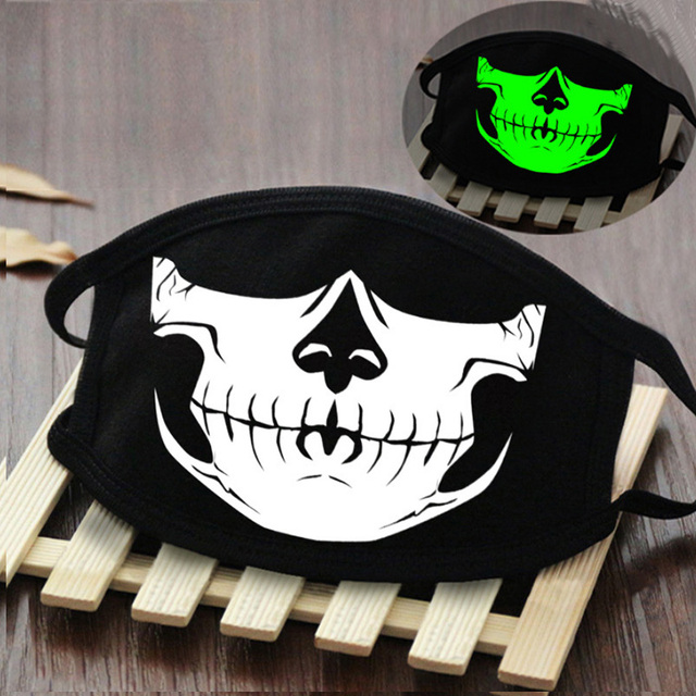 Holographic Kpop Cotton Funny Mouth Mask Fashion Skull and Teeth Graphic Black Face Mask Streetwear Party Clubwear Masques 5