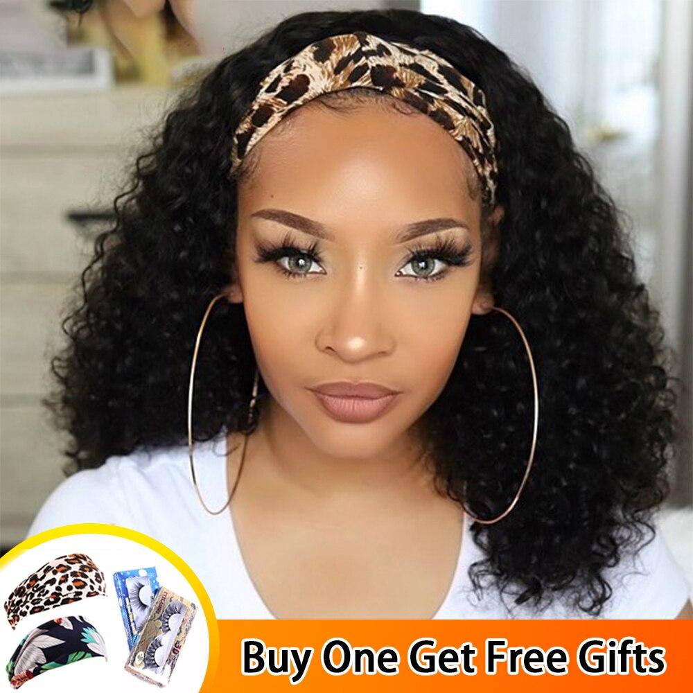 Peruca de cabelo humano jerry encaracolado peruca brasileira remy cabeça banda metade perucas glueless máquina cheia peruca para preto feminino mstoxic