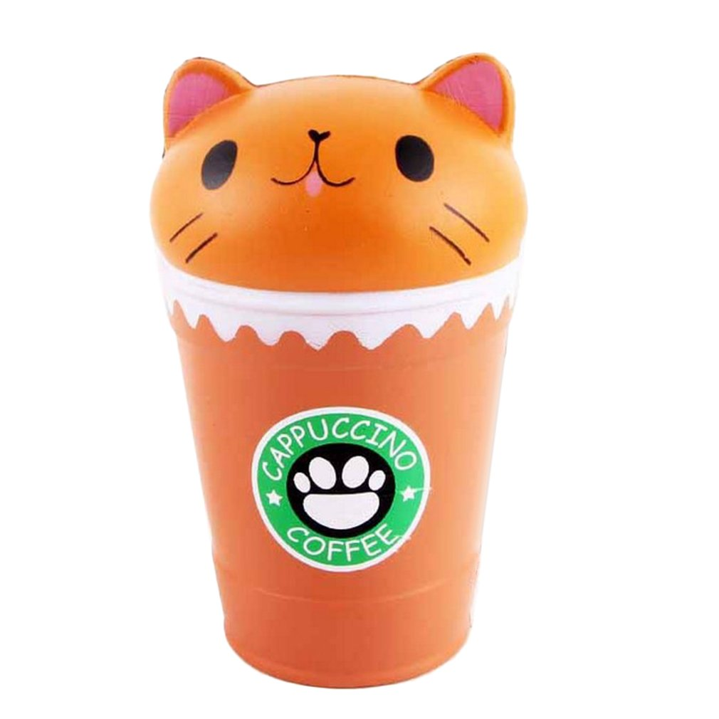 Kawaii Coffee Cup Cat Head Scented Toys Practical Slow Rising Squeeze Toys Anti-strss Best Gift Stress Reliever Toys Squishy Toy