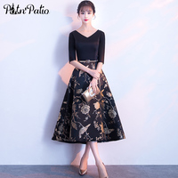 Printed Flower Satin Black Cocktail Dresses With Sleeves 2020 Elegant V neck A line Tea length Plus Size Semi Formal Dress