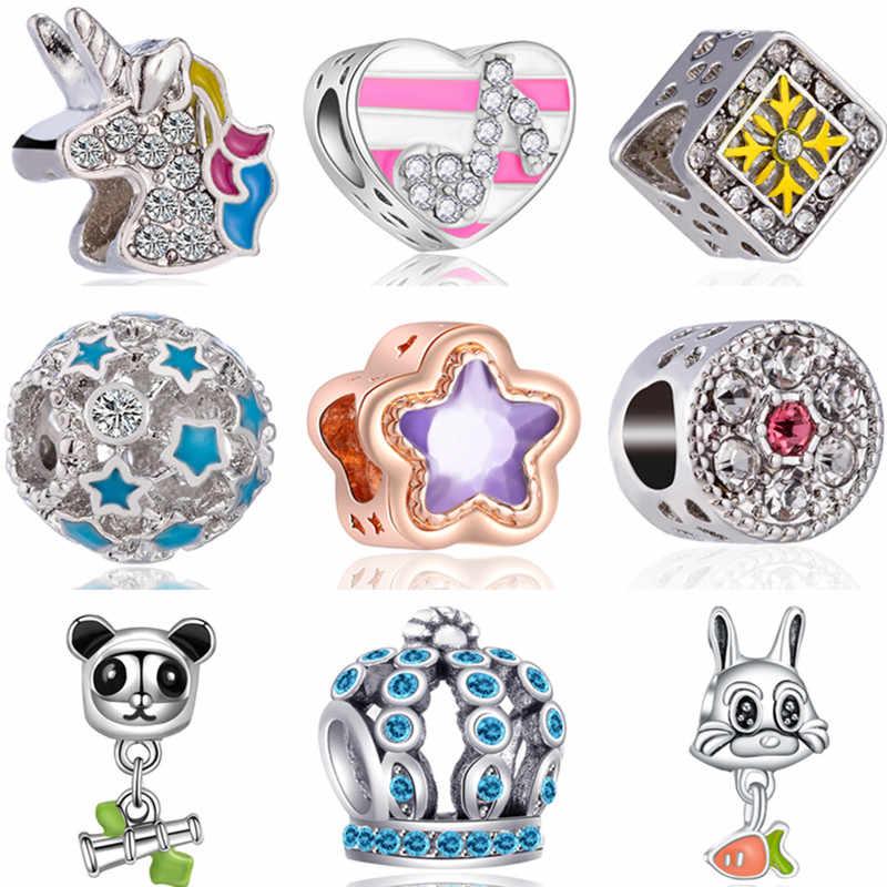 Estilo Simple bola grande Panda Lobo unicornio conejo corazones dijes cuentas Fit Pandora pulseras DIY brazaletes para mujeres regalos de navidad