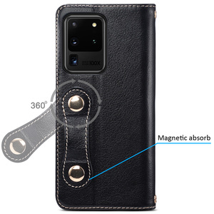 Image 3 - Metal Buckle Button Genuine Real cow Leather Flip Case For Samsung Galaxy S20 Ultra Book Wallet For S20 Plus