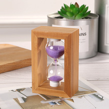 Rough wood square hourglass ornaments home study desk table decoration creative gifts