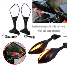 2pcs Clignotants Moto For Honda CBR 250 600 900 1000 RR  LED Turn Signal Indicators Motorcycle Rearview Side Mirrors Retroviseur