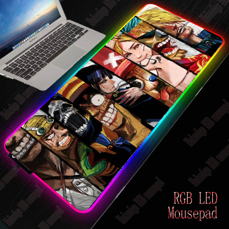 XGZ Anime One Piece Large RGB LED Mouse Pad 7 Color USB Wired Lighting Gaming Gamer Backlight Mousepad for Laptop Computer Mat 1
