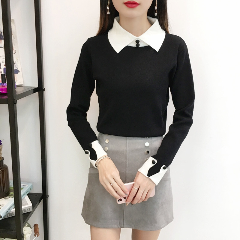Korea Autumn Winter Elastic Pullovers Sweaters Women Sexy Black Knitted Sweater Female Bottoming Soft Jumper Fake Two Pieces