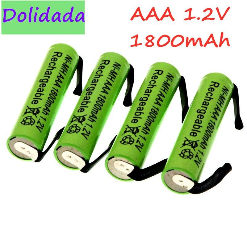 Аккумуляторная батарея Ni-Mh 1,2 в AAA, 1800 мАч, с вкладышами для припоя, для Philips Braun электробритва, бритвы, зубной щетки
