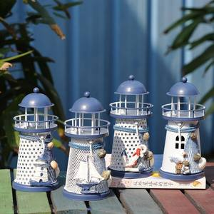 1PCs Creative Candle Holders Mediterranean Lighthouse Iron Candle Candlestick Blue White Candles Rack Stand Home Table Decor