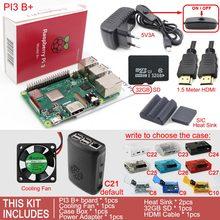 Ahududu Pi 3 modeli B + artı kurulu + kutu kutusu + soğutma fanı + SD kart + isı emici + AC/DC güç adaptörü + HDMI kablosu