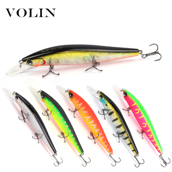 цена Volin 1pc Wobbler Suspending Minnow Fishing Lure Bass Tackle Crank Baits 110mm 15g with 3 Fishing Hooks Fishing Tackle Lure онлайн в 2017 году