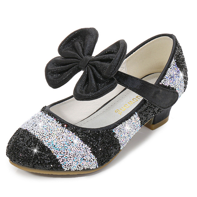 Mowoii Girls Glitter Mary Jane Low Heel Wedding Party Princess Dress Pumps Shoes Shoes for Toddler Kids