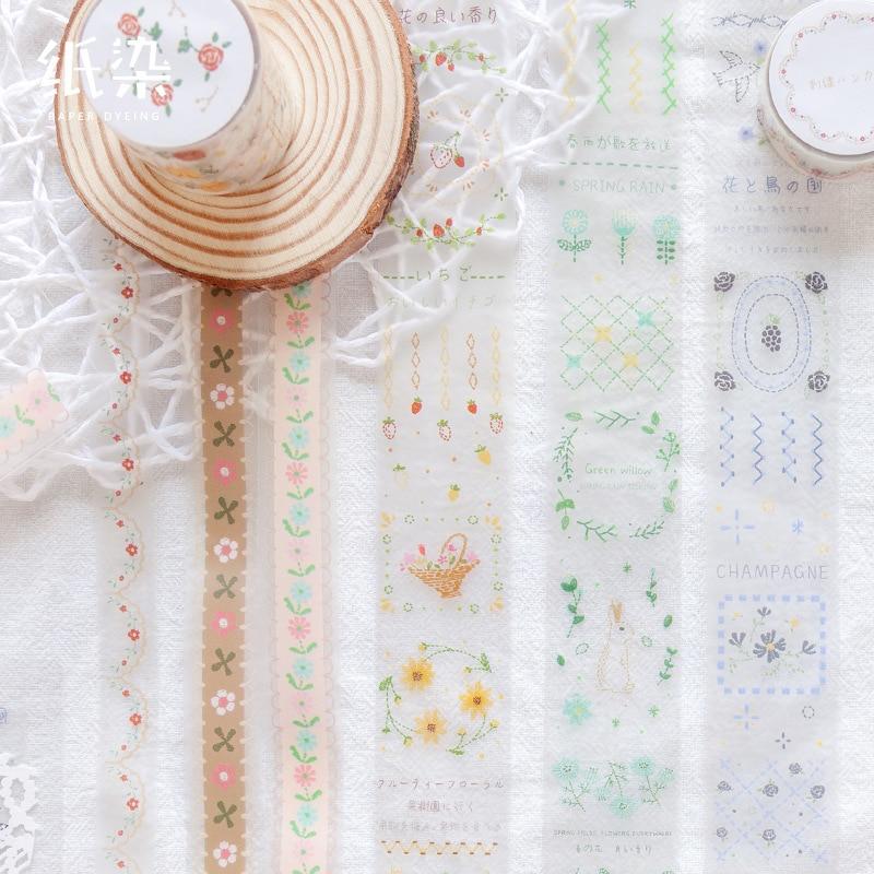 1set/1lot Washi Masking Tapes Embroidery Manor Decorative Adhesive Scrapbooking DIY Paper Japanese Stickers 3M