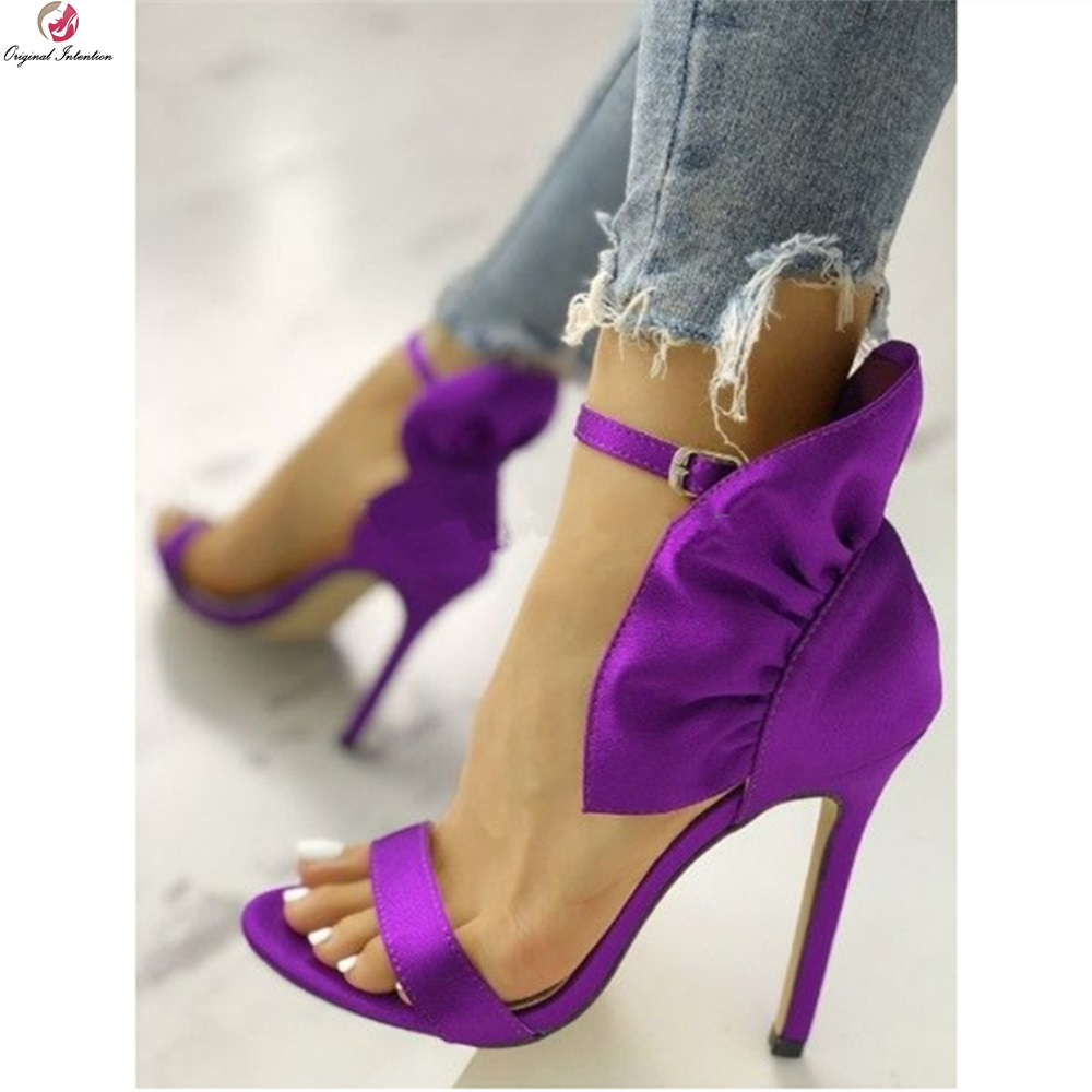 Original Intention Satin Purple Sandals Woman Open Toe Thin High Heels New Design Sexy Summer Party Prom Shoes Female Plus Size