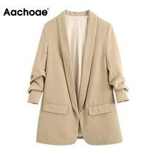 Elegant Blazer Office-Coat Pockets Casual Women Feminino Shawl Outerwear Collar Solid