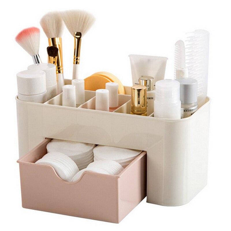 Creative Pink Blue Green Plastic Makeup Organizer Make Up Brush Storage Box With Drawer Cotton Swabs Stick Storage Case 3 Colors