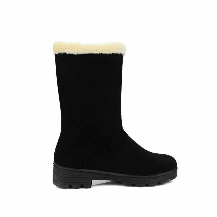 QUTAA 2020 yuvarlak ayak kelebek-düğüm orta buzağı botları sıcak kürk kış kar botları kare topuk akın kayma kadın ayakkabı boyutu 34-40