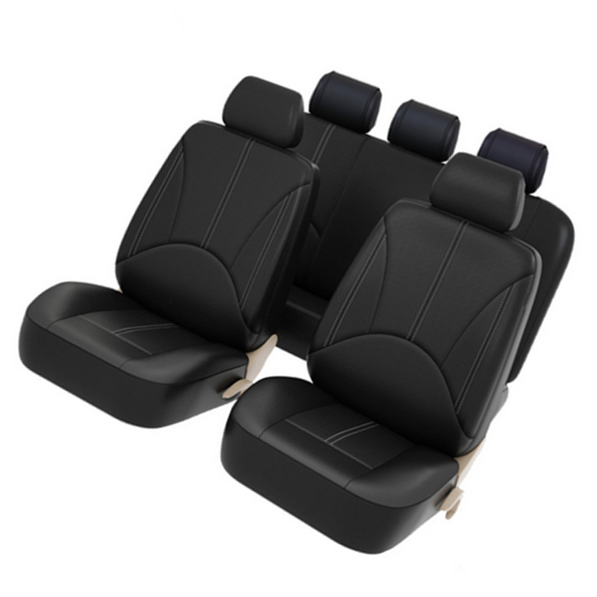 Black PU Leather Car Front/Back Seat Cover For Most Car Seats Back Seat Bottom Cover Head Rest Covers Car Interior Decoration