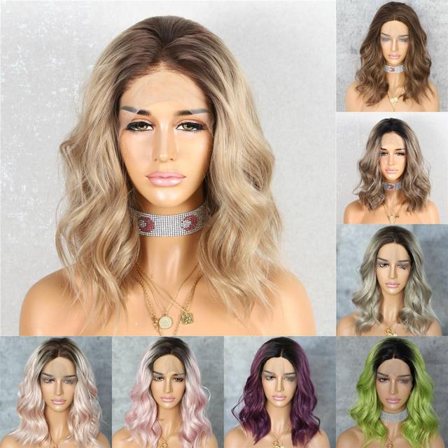 BeautyTown Dark Root Ombre Brown Grey Pink Green Mint Short Blogger Daily Makeup Glueless Synthetic Lace Front Wedding Party Wig
