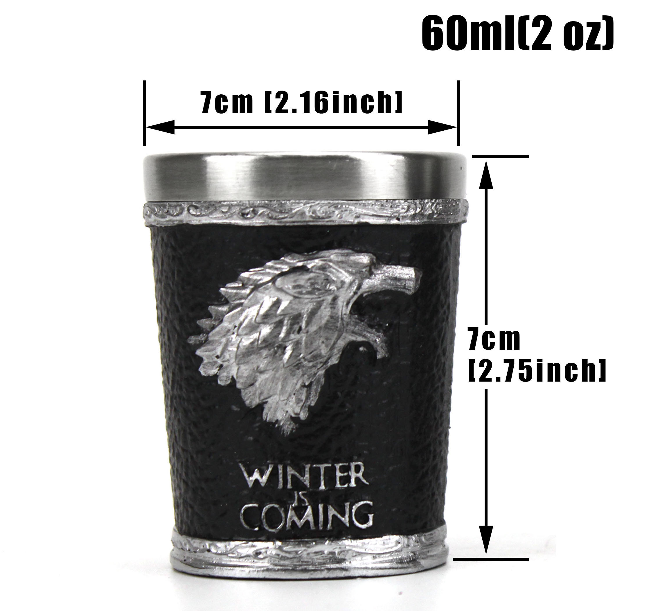 Game of Thrones Shot Glass Wine Glass House Stark Wolf Head Wine Cup Christmas Halloween Gift 60ml