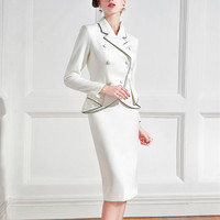 Formal Elegant Dress Suits Women Vintage Retro Female Jacket Blazer Business Wear Work 2 Piece Set For Office Lady Prom Party