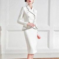 Formal Elegant Dress Suits Women Vintage Retro Female Jacket Blazer Business Wear Work 2 Piece Set For Office Lady Prom Party