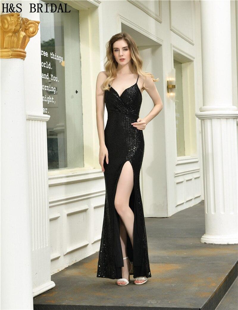 H & s nupcial preto vestido de
