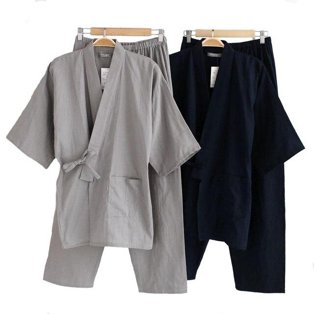 Zestaw bielizny nocnej męskie bawełniane Kimono 2 sztuk szata i spodnie odzież domowa luźna piżama garnitur stałe bielizna nocna z kieszeni mężczyźni kimono