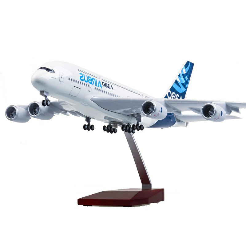 50CM 1/160  Airbus A380 Prototype Airline Plane Model Alloy Airframe W Landing Gear & Light Airplane Toys Fixed-wing Aircraft