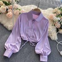 2021 nuovo temperamento moda donna camicia di raso papillon pizzo risvolto D lanterna manica sottile Top corto UK798