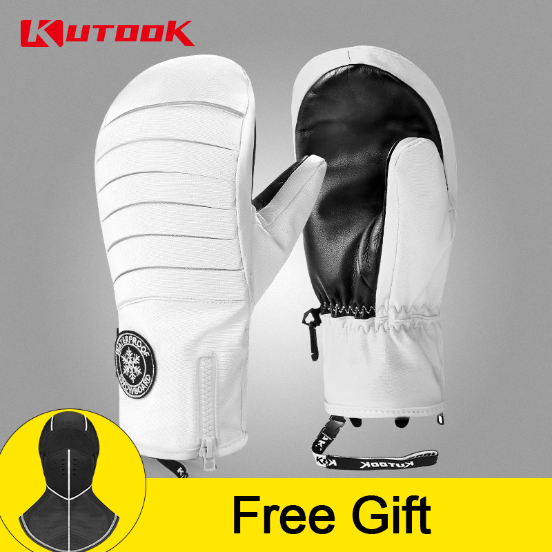 KUTOOK Thermal Warm Ski Gloves Winter Goat Leather Snowboard Snowmobile Mittens Waterproof Protective Snow Accessories Men Women
