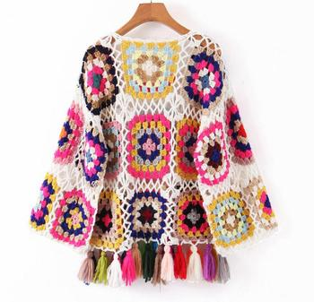 Geometric Ethnic Retro Colored Plaid Hollow Out Knitted Sweater5