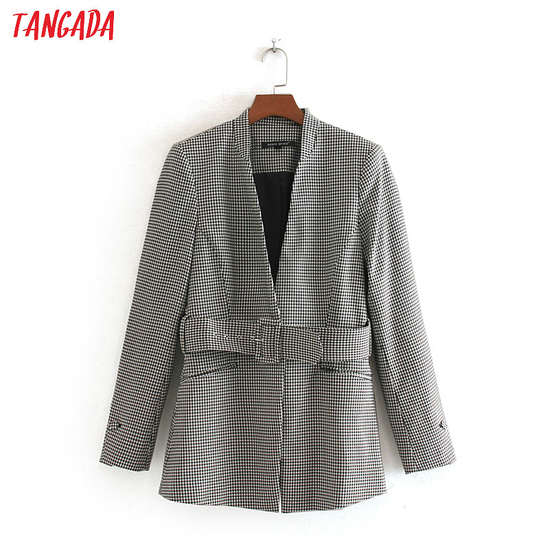 Tangada Women Warm Winter Plaid Pattern Suit Jacket With Belt Office Ladies Vintage Plaid Blazer Pockets Work Coat CE126